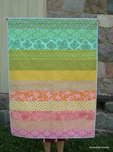 Striped rainbow quilt