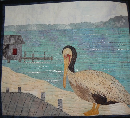 Closeup of Pelican from Water Quilt