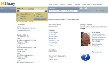 MLibrary Subject Librarian catalog integration