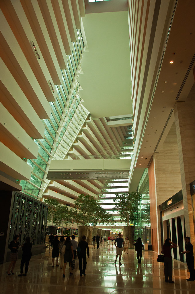 The atrium of the Marina Bay Sands Hotel
