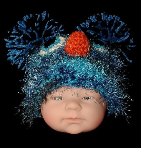 baby blue bird hat front