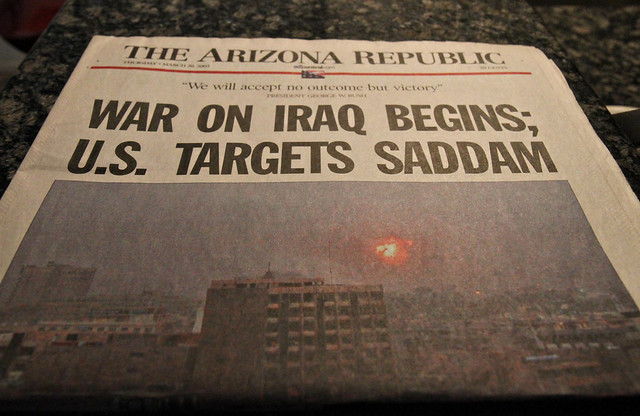 The War in Iraq begins - paper dated 03/20/03.
