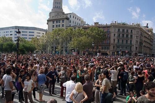 Concentració per la vaga general a la plaça de Catalunya
