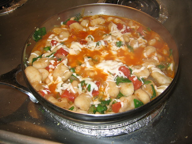 Skillet gnocchi with chard and white beans