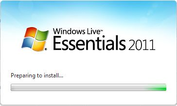 Windows Live Essentials 2011, preparing to install...