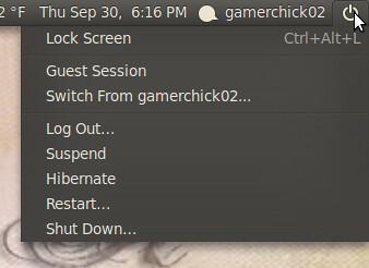 shutdown menu