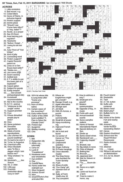 NYT Sunday Puzzle - 2/13/11