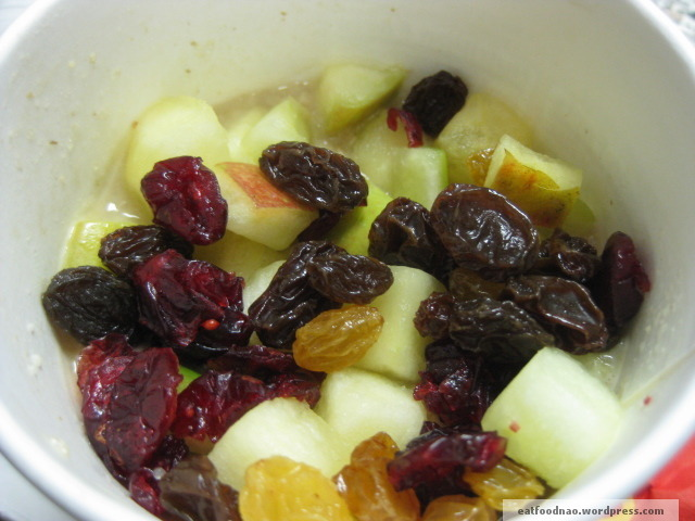 Raisin and fruit mix oatmeal