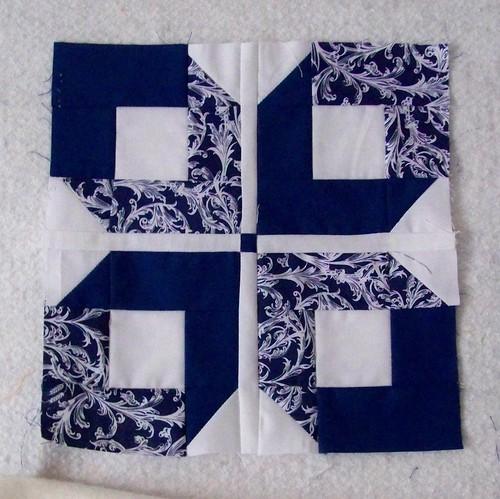 patchwork quilt block blue ribbon