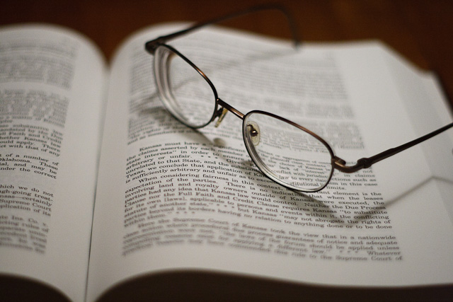 Eyeglasses left on an abandoned lawbook