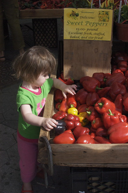 Lu examines the peppers