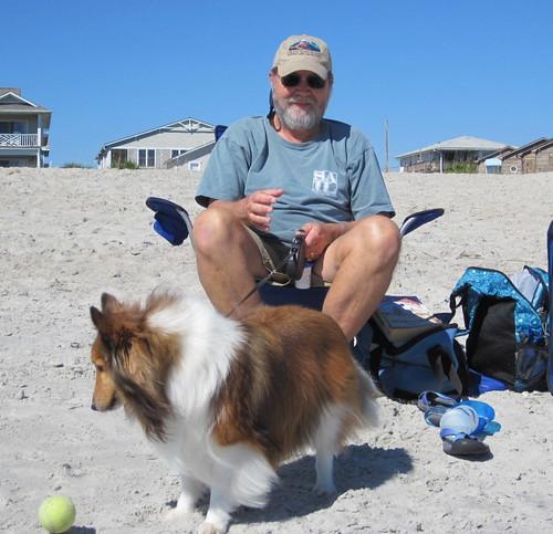 Bailey is ball crazy on the beach