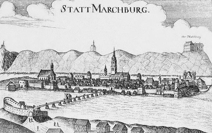 較後期舊文獻上的Maribor,當時叫做Marchburg(從Marchburch簡化成Marchburg)。圖片來源:維基百科。