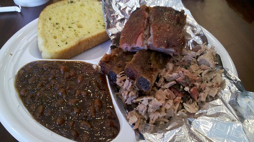 cole's bbq combo with ribs and chopped pork, and baked beans