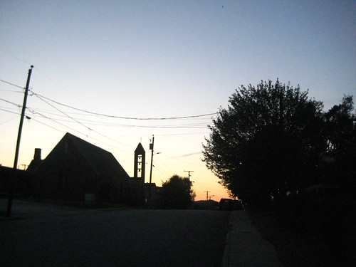Our street at dusk