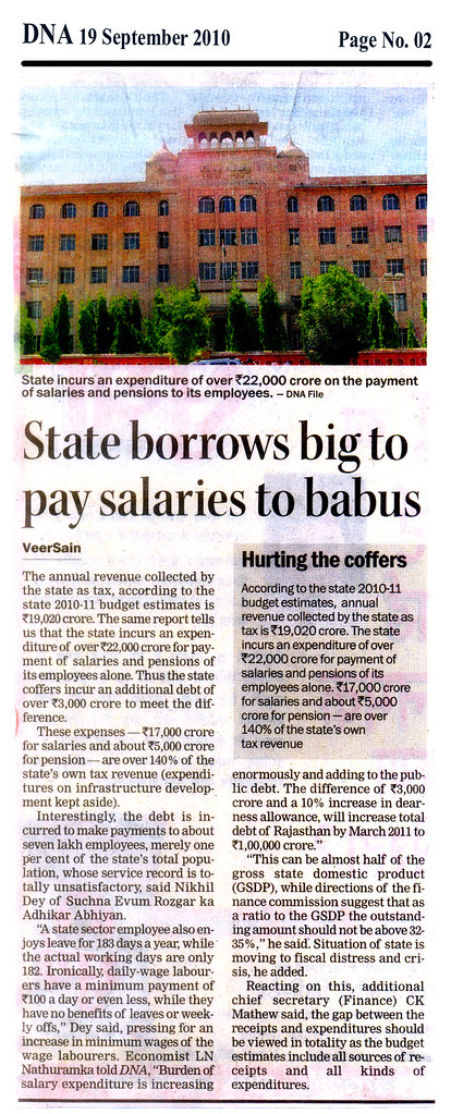 DNA - 19 Sep 2010 - State borrows big to pay salaries to babus