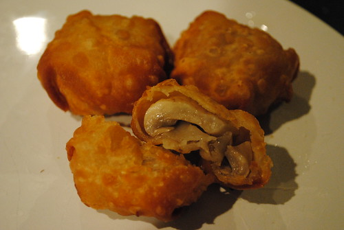 mushrooms wrapped in wonton wrappers