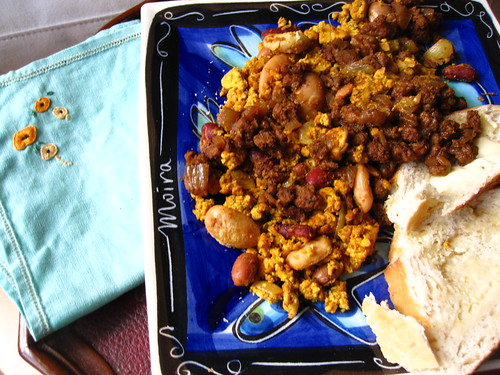 tofu scramble with vegan chorizo