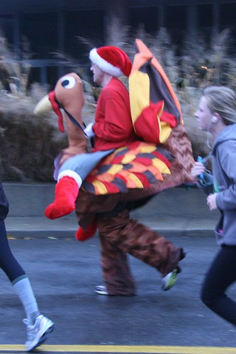 This one is a guy 'riding' a turkey. Seriously. Kinda.