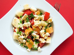 melon-tomato-feta cheese salad