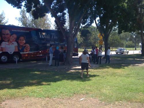 NOM tour bus in Visalia