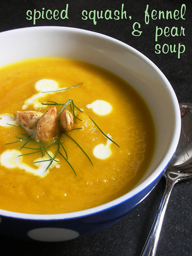spiced squash, fennel & pear soup