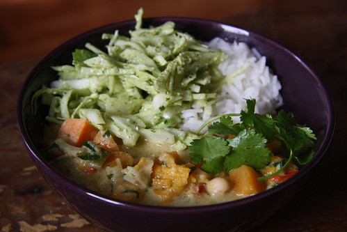 Green tomato, sweet potato coconut curry