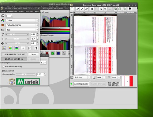 XSane scanning an image on Linux Mint