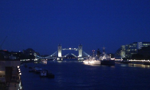 Tower Bridge opening at night