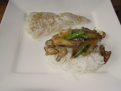 Kabeljauw met oesterzwam en rijst