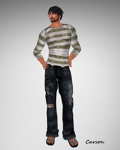 . WoE . Kole Dragon Jeans (Blue) Braylon Srtiped Sweater (Faded)