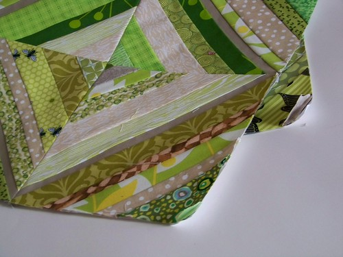 "Green and tan string pieced quilt block for ""Fresh Modern Bee 2"""