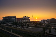 Sunset over Browns Stadium