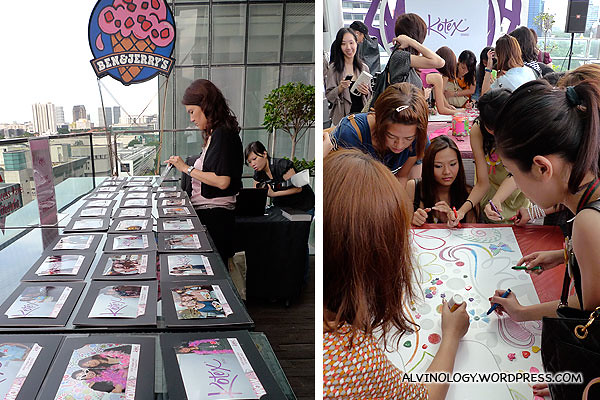 The ladies playing some colouring games and other fun girly activities