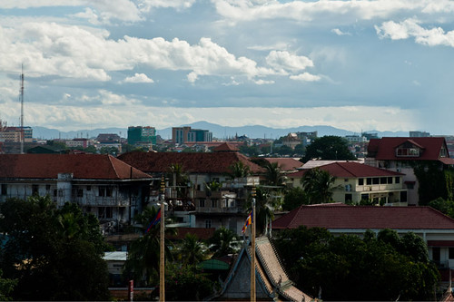 Mountain View from a building's rooftop in Phnom Penh