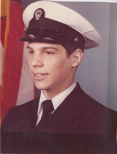 A portrait of Tim Elhajj as a young seaman
