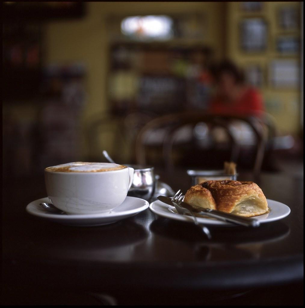 cappuccino and cinnamon roll
