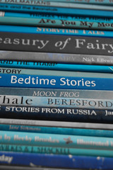 A stack of books for bedtime stories