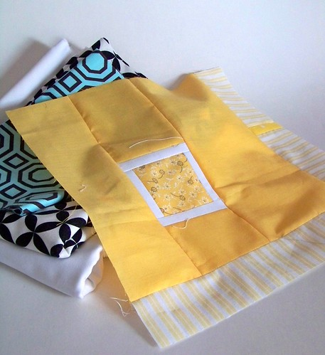 Yellow block for Rainbow Around the Block with new folded fabric