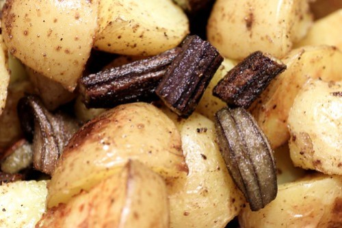 roasted okra and potatoes