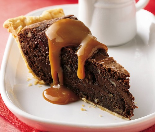 Fudgy Brownie Pie with Caramel Sauce Recipe