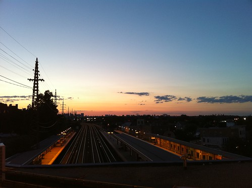 Sunset in Queens, NY. Returning from a food club outing to Sripraphai