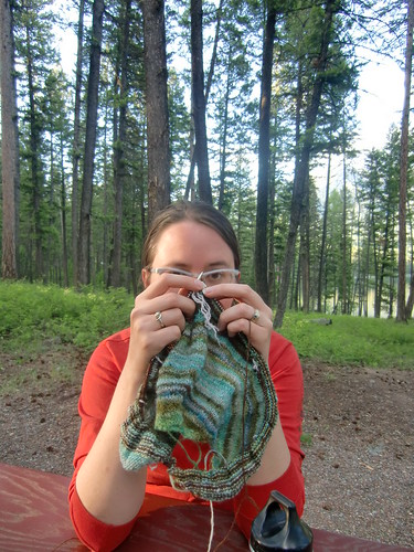 camping knitting - holland lake