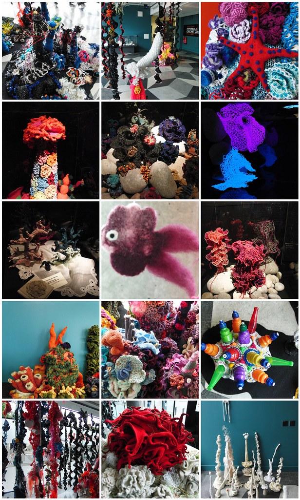 Corales (y pez de fieltro) hechos en crochet con lana, con alambre, y con cuentas.