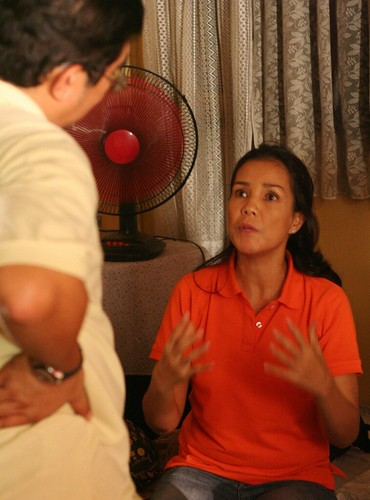Dennis Marasigan and Irma Adlawan discussing a scene