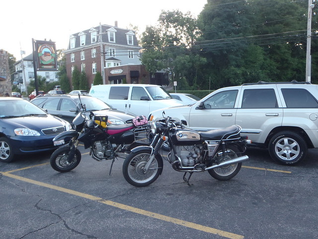 BMW R75/5 and DRZ-400SM at Mews Tavern, Wakefield RI