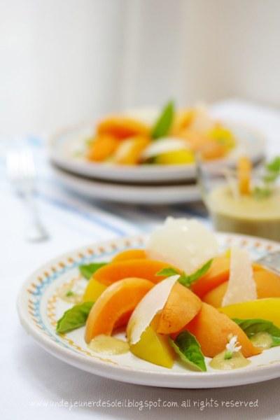 Apricot, plum and parmesan salad