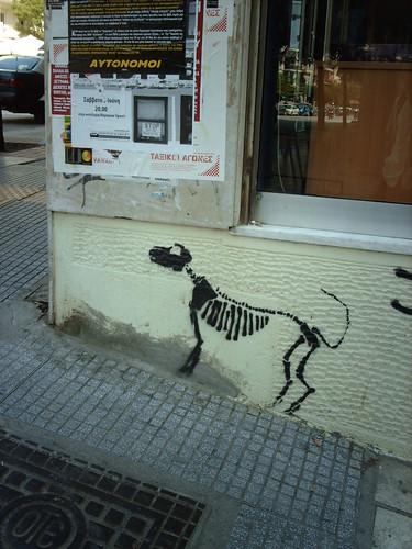 Canine skeleton stencil graffiti