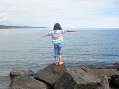 Olivia Balancing on a Rock