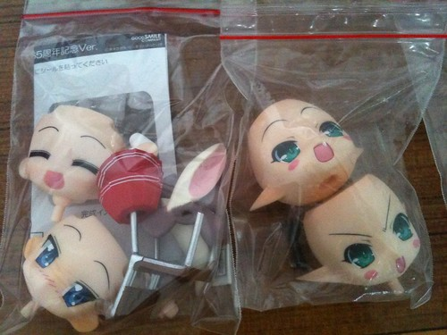 Other Nendoroid's parts are kept inside plastic ziplock bags